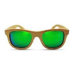 Wholesale Wood Floating Sunglasses Bamboo Frames Polarized HD Lenses Men s Women s Natural Color Frame Gold Reflective Mirrored Lenses
