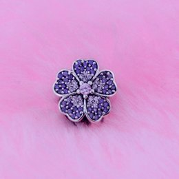 Loose beads Fits for Pandora bracelets Original 925 sterling silver jewelry Primrose Pave Silver Charm With Pink And Purple Cubic Zirconia
