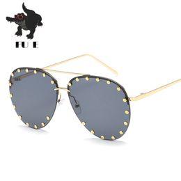 FU E High-quality new fashion women sunglasses half-frame rivets sunglasses retro brand-style fashion men's sunglasses UV400 66183