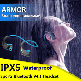 Wholesale Armor IPX5 Wireless Bluetooth V4 Earphone Waterproof Sports Headset Ear hook Running Headphone With Mic Music Playing For All Cell Phones
