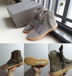 Originals Kanye West Saison 2 BOOTS 750 Bottines Top Haut cuir hommes Chaussures hommes Gris clair Noir vert olive eur 36-46 à partir de lumières bottes fournisseurs