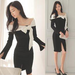 Korean women s dress On-line-Korean mulheres vestido de bowknot split vestido de manga comprida preto slash vestidos de celebridade vestido de pescoço para barato