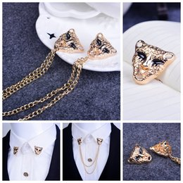 Retro leopard head brooch Shirt West decorations Tassel brooch medal Personality brooch With a chain collar pin