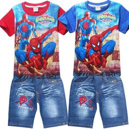 2017 spiderman ensembles de vêtements d'été Enfants Spiderman Costume Enfant d'été Shorts T-shirts Costume Ensemble 2 pièces Survêtements garçons Vêtements fixe Coat + Pant pour 3-10T abordable spiderman ensembles de vêtements d'été