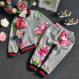 Wholesale 2016 Autumn Boy And Girls Flower Printing Training Suit Cotton Outfits Coat Pant Children Clothing Set EX9901