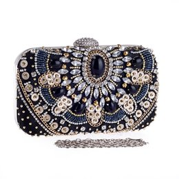 Black Retro Evening Clutch Bags Rhinestones Beaded Clutch Bag Wedding Party Clutches Purse Chain Handbag