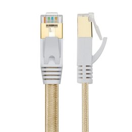 Wholesale 1pcs new product m m m m m m m15m m CAT7 RJ45 Patch flat Ethernet LAN Network Cable For Router Switch gold plated