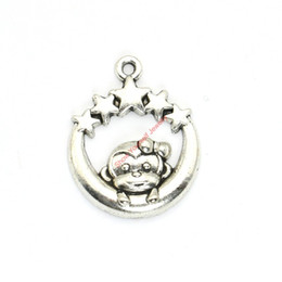 Wholesale 15pcs Antique Silver Plated Moon Monkey Star Charms Pendants for Bracelet Jewelry Making DIY Necklace Craft x23mm