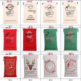 Wholesale Stock in USA Christmas Large Canvas Monogrammable Santa Claus Drawstring Bag With Reindeers Monogramable Christmas Gifts Sack Bags
