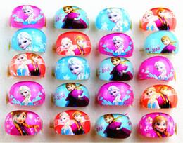 Wholesale New Frozen Anna Elsa Kids Lovely Cartoon resin children favor party jewelry rings job