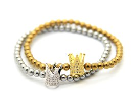 2016 High Grade Jewelry Wholesale Gold and Platinum Plated Cubic Zirconia Crown Beads Bracelets,best gift