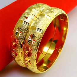 Don't rub off the woman 18K gold bracelet bracelet imitation gold bracelet Jewelry Wedding 999 thousand character wide heavy sand