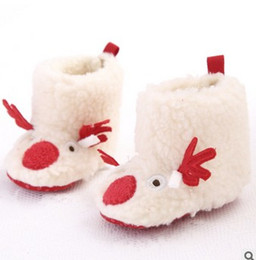 Wholesale Cartoon Baby Boots Winter Xmas Deer Fleece Toddler Snow Boots Cute soft soled Inant First Shoes Christmas Girls Shoes W302