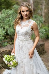 Wholesale Covers Sashes - On-Sale! 2016 Wedding Dress With Tulle Sheath Jewel Neck Chapel Train Lace Appliques Beaded Sash Wedding Dresses Bridal Gowns #DL10182