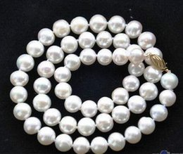 Hot 10-11mm round south sea white round pearl necklace 18inch 14k gold clasp