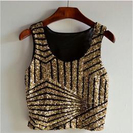 Stripe sequins sexy vest summer Crop top t-shirt women
