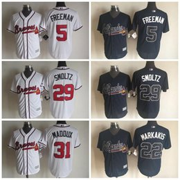 Wholesale Cheap Atlanta Braves Greg Maddux Jerseys Freddie Freeman Baseball Jersey Nick Markakis John Smoltz Stitched Logo Baseball Jersey