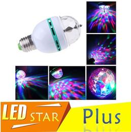 Wholesale Magic Ball RGB Full Color W E27 LED Bulb Crystal Auto Rotating Stage Effect DJ Light Bulb Mini laser Stage Light Projector
