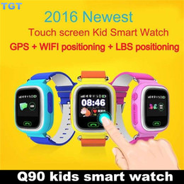 Wholesale DHL Q90 Smart Baby Watch Touch screen Kids Smart Watch Anti Lost Monitor SOS SmartWatch GPS WIFI LBS Tracker Wristwatch for IOS Android