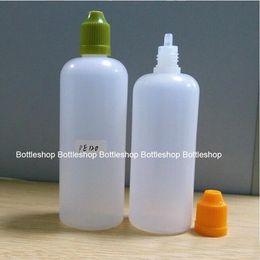 Hot !! Empty PE Dropper Plastic Bottles 120ml Translucent E Cig E Juice Bottle Colorful Child Proof Caps Long Thin Dropper Tips