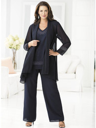 Ming Blue Mother of the Bride Pants Suits for Weddings Plus Size Three Pieces Beaded Chiffon Pant suits for Mothers Bride Custom Made