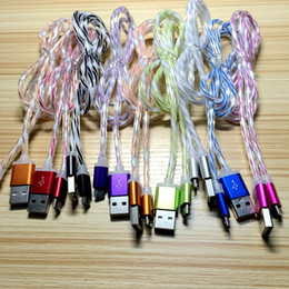 Wholesale 2 A fast charging rainbow PVC Micro V8 USB Cable Lead charger Cord For Samsung S7 S6 note huawei LG factory outlet