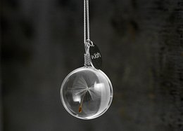 Wholesale airy real dandelion necklace Make one wish Real dandelion seed in glass long necklace and WISH charm