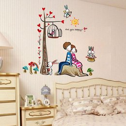 Wholesale Romantic couple Tree Wall Stickers three generations living room furniture ideas bedroom wall stickers cartoon wall stickers AY924