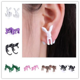 Red Crystal Eyes 3D cute Black Fashion Jewelry Kitten Piercing Pearl Ear Stud Cuff Earrings For Women Men