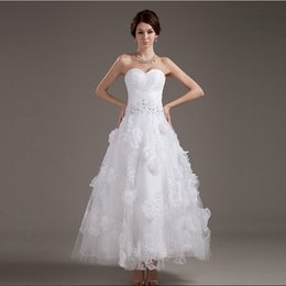 Ankle Length 2016 Style European Bridal Short Dress With Handmade Flower Sweetheart Bridal Dresses 100% High Quality