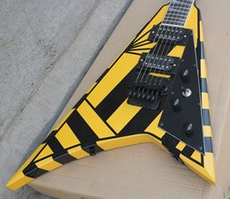 Voler v en Ligne-Guitar Rare Michael Doux Jack Son Flying V Stryper Signature guitare électrique réplique de collection J V. (BlackYellow Stripe)
