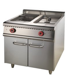 Wholesale Gas Fryer with Cabinet model HZ RF A baking stoves with cabinet stainless steel external blue temp controller durable and reliable perfor