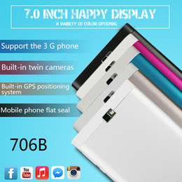 Wholesale 706 New model G tablet phone call dual core android systems Mtk6572 gps wifi USB OTG playstore Instock DHL shipping