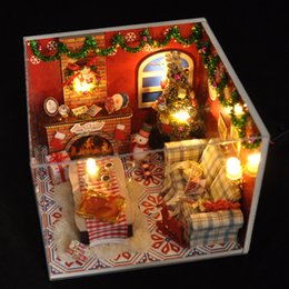 Wholesale 2016 New Wooden Dollhouse Furniture Kids Toys Handmade Gift Diy Doll House Kits With LED Stuff Home Decor Craft Doll Houses Miniature TW8