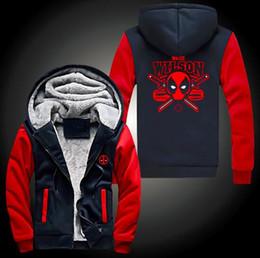 Descuento película al rojo vivo Al por mayor-Nueva Deadpool super caliente espesa la cremallera del paño arriba sudadera con capucha capa de los hombres de algodón de la película de envío gratuito Wade Wilson NUEVO Red Hot Sale