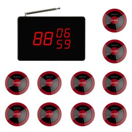 SINGCALL Wireless Calling System, Pack of 1 Pc Display and 10 Pcs of APE320 red pagers