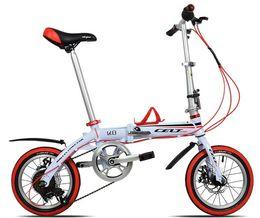 Wholesale 14 quot inch speed disc brake Aluminum Alloy frame Folding Foldable Children boy girl women men s Road Bicycles bike KG super light