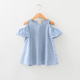 Wholesale Kids Girls Stripe Cotton Dresses Baby Girl Summer Off shoulder Dress Babies Fashion Dress Children s Clothing