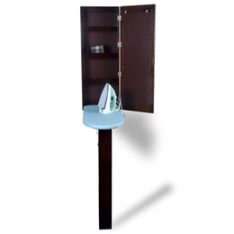 Wholesale New Simple Design Brown Folding Ironing Board Cabinet With Legs With Mirror Hang over The Wall