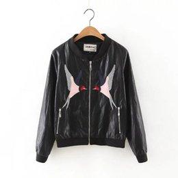 Wholesale 2016 leather PU leather jacket chest bird embroidery women s fashion new winter baseball uniform