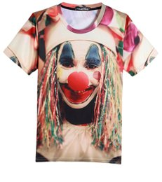 Wholesale Unique d red nose clown long hair joker print casual round neck short sleeve T shirt for men boys tops tee shirt SX