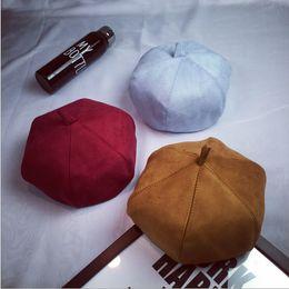 Wholesale 2016 Chun Xia Yinglun fashion suede painter cap Korean star anise pumpkin bud beret hat tide