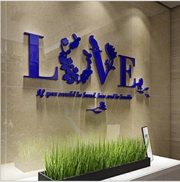 Wholesale 2016 new New quot Acrylic wall sticker quot Creative Romantic Multicolor Acrylic Mirror Effect LOVE Decal Wall Sticker Mechanism Decoration