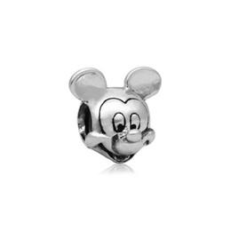 Wholesale Dizny Mickey Alloy Charm Bead AL E Printed Antique Silver Plated European Retro Style Jewelry For Pandora Bracelet