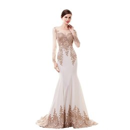 2017 Ivory Long Evening Dresses Lace Applique Cheap Modest Illusion Long Sleeve Formal Dresses Evening Gowns Mermaid Party Prom Gowns