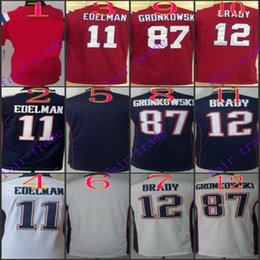 Wholesale Youth NIK Game Football Stitched Patriots Tom Brady Rob Gronkowski Julian Edelman Blank White BLue Red Jerseys Mix Order
