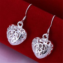 HOT!! Fashion Heart Silver Drop Earrings For Women 925 Sterling Silver Fashion Jewelry Wholesale Best gift
