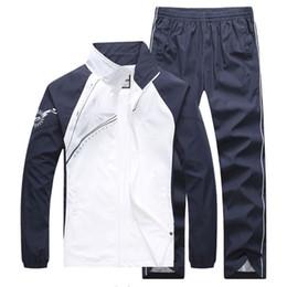 2017 5color Men tracksuit sets big Size Men's Sport Suit Running Sportwear spring Long Sleeve Running clothing
