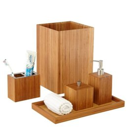 Wholesale Classics Bamboo Bath and Vanity Set Bathroom Accessory Holder