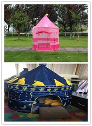 Cabrito casa tienda de campaña en venta-2 colores portátil plegable tienda de campaña príncipe plegable tienda niños niños niño castillo cubby jugar casa regalos para niños al aire libre tienda de campaña
